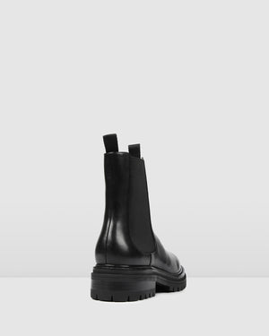 BLOOM FLAT ANKLE BOOTS BLACK LEATHER