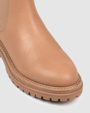 BLOOM FLAT ANKLE BOOTS TAN LEATHER