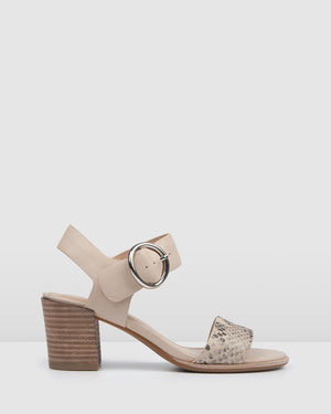 BOWIE MID HEEL SANDALS BONE LEATHER
