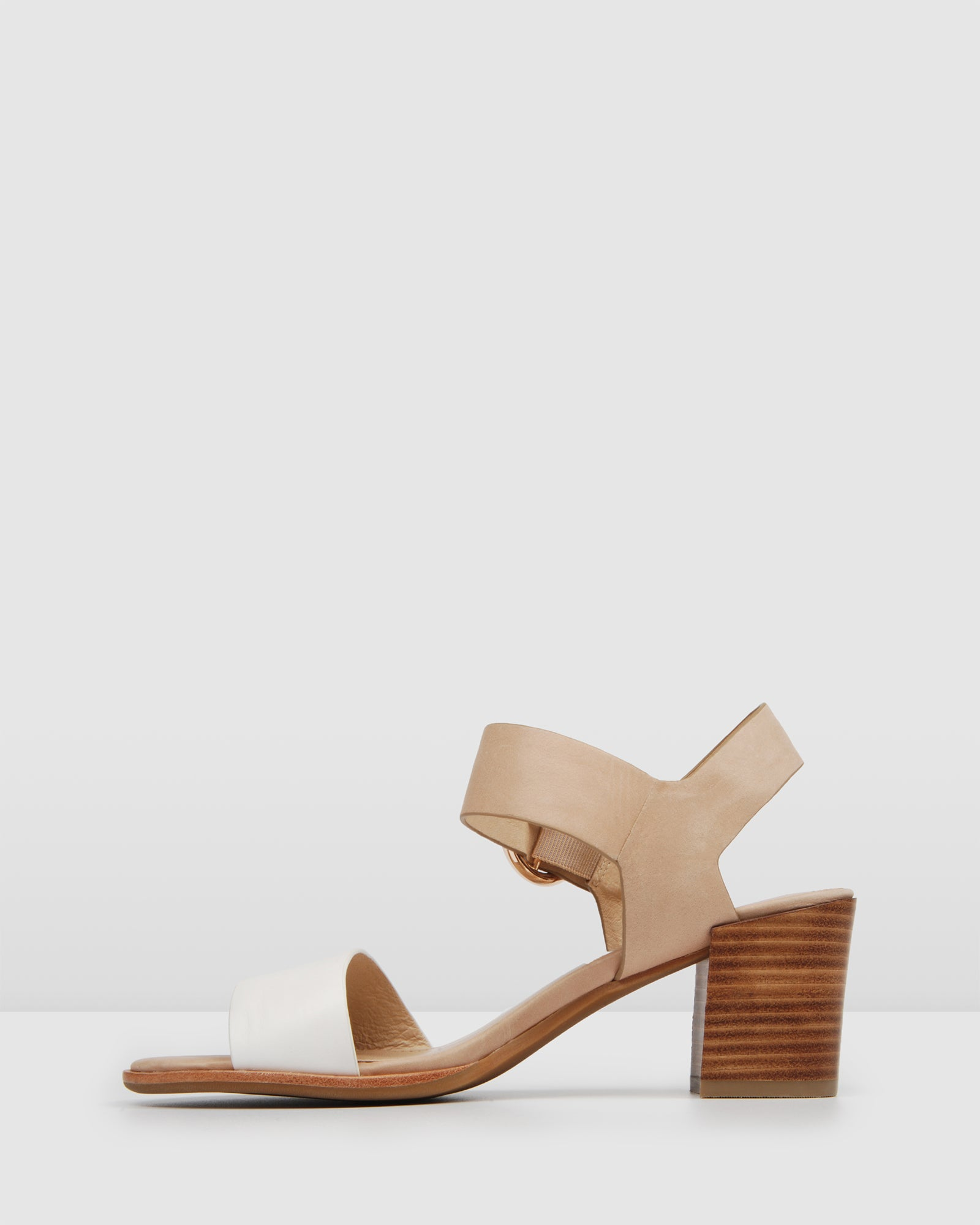 BOWIE MID HEEL SANDALS NATURAL/WHITE