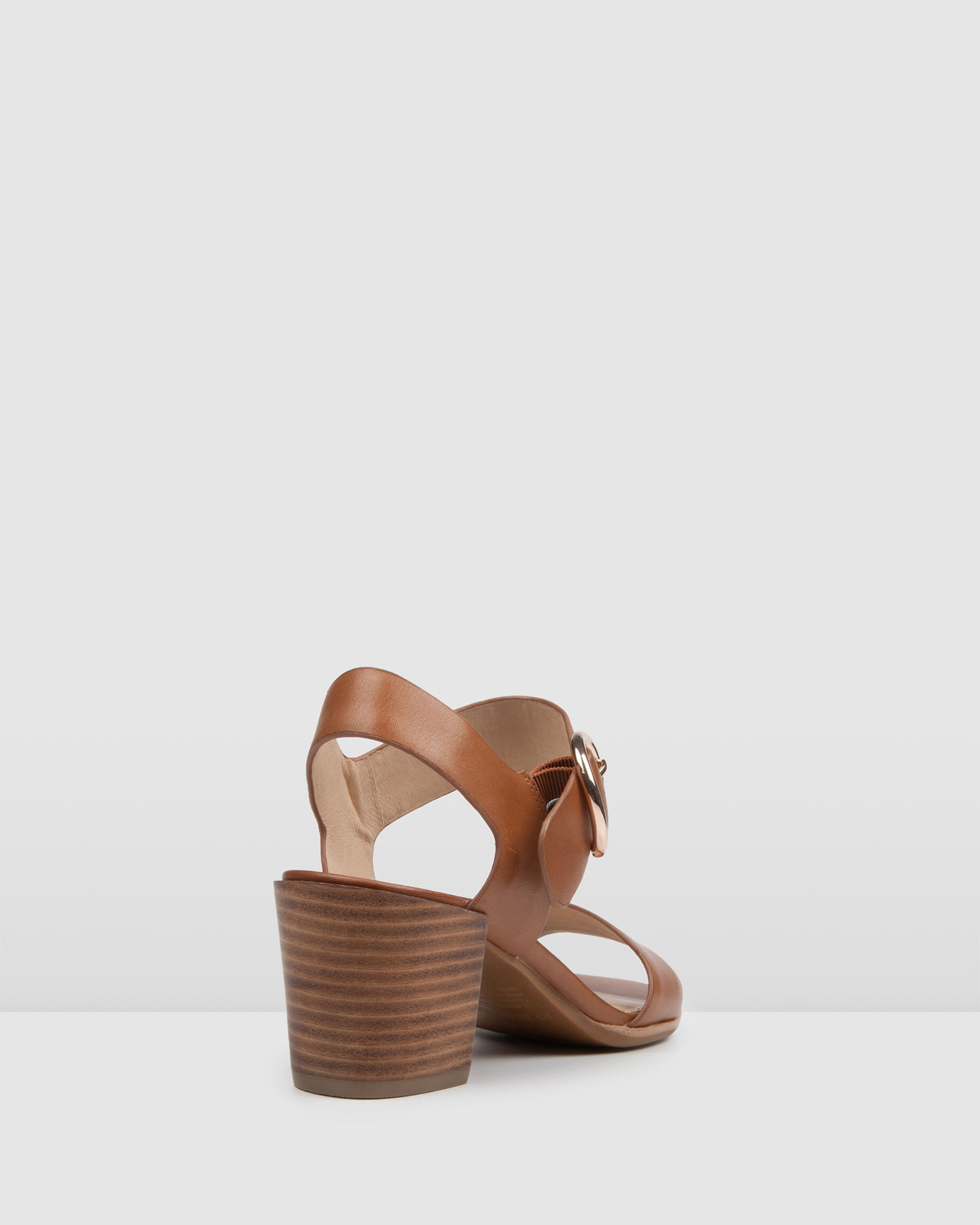 BOWIE MID HEEL SANDALS TAN LEATHER