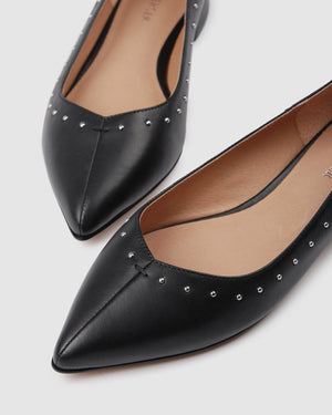 BRIANNA DRESS FLATS BLACK LEATHER