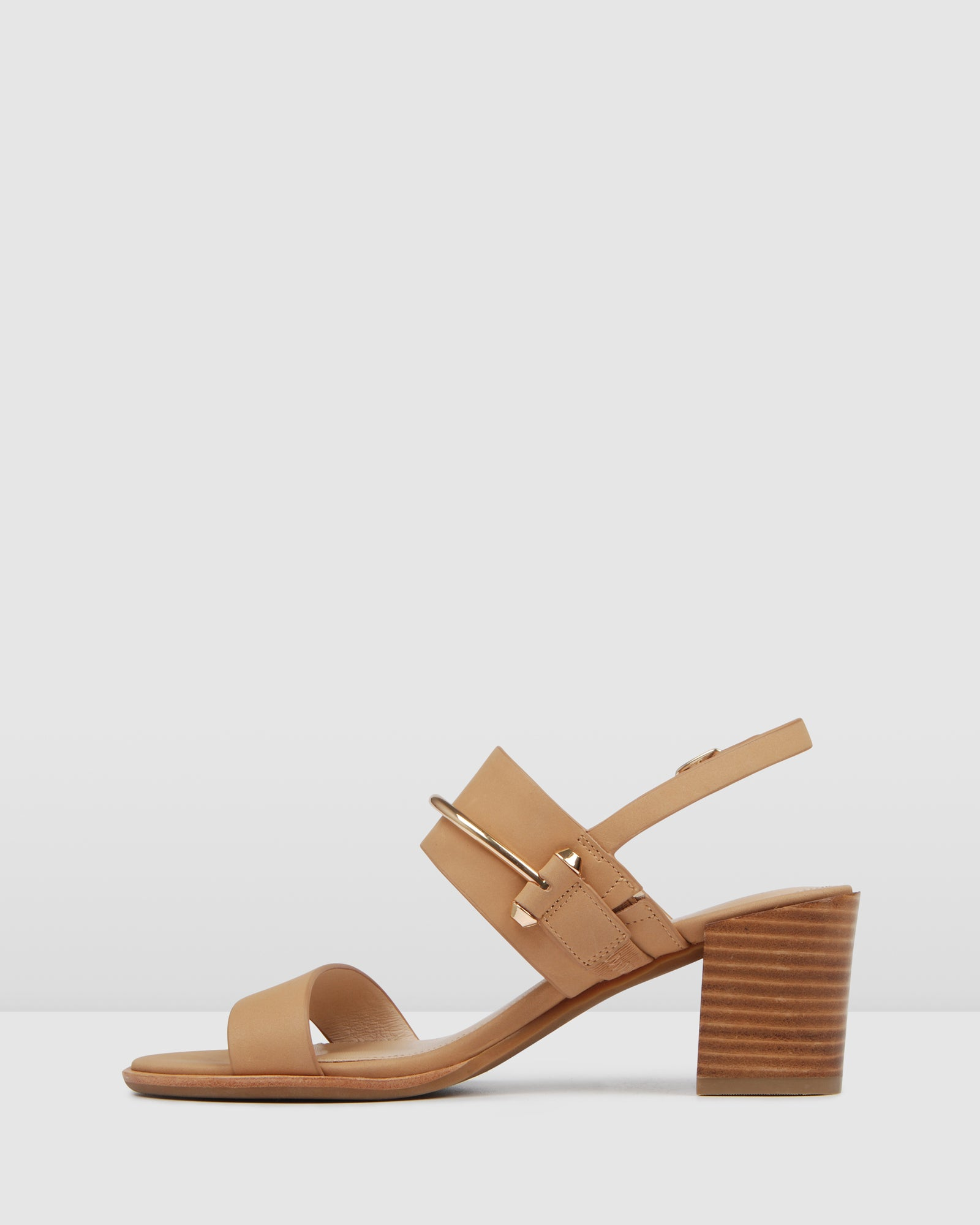 BRYLEE MID HEEL SANDALS TAN LEATHER