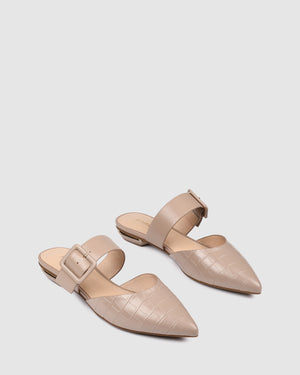 CALEB DRESS FLATS BEIGE CROC