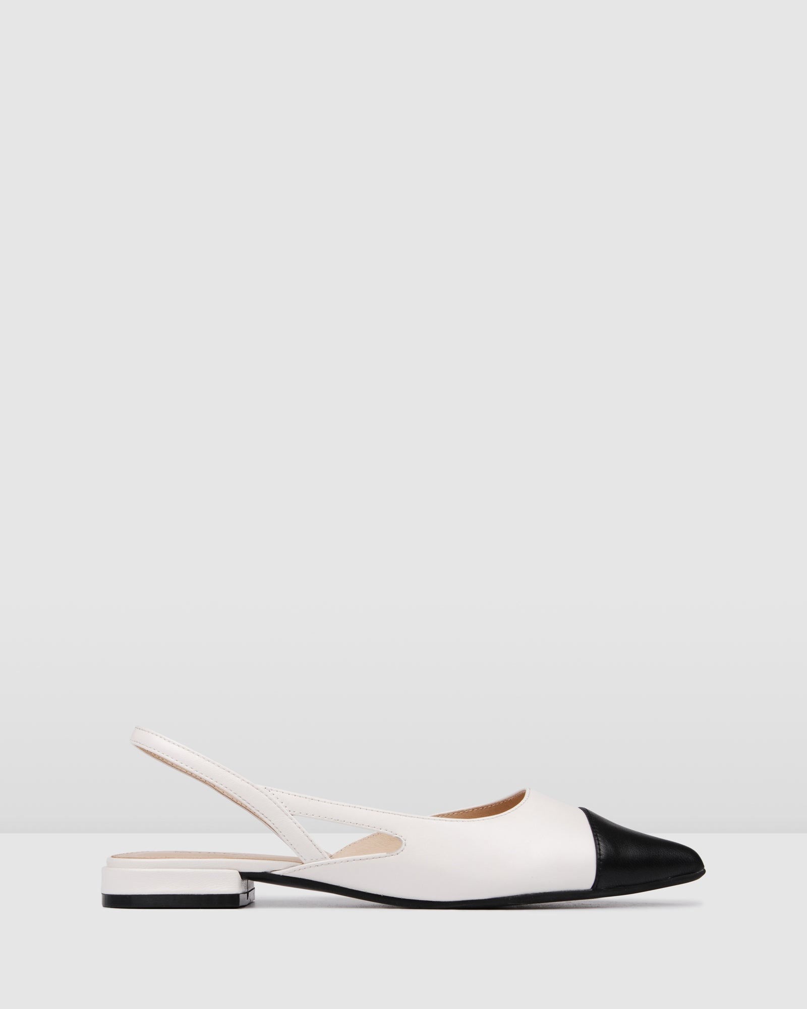 CALLISTA DRESS FLATS BLACK WHITE LEATHER