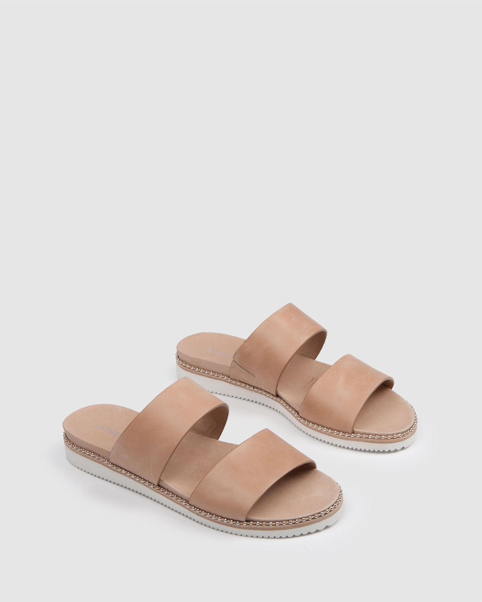 CAMEO FLAT SLIDES NATURAL LEATHER