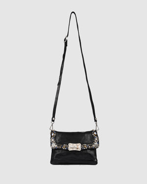 CAMPOMAGGI BELLA MEZZANOTTE CROSS BODY BAG BLACK LEATHER