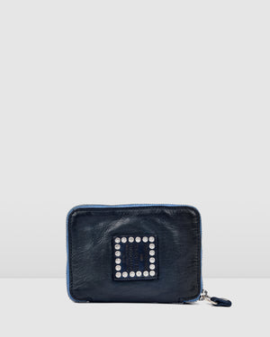 CAMPOMAGGI BELLA MEZZANOTTE SMALL WALLET INDIGO LEATHER