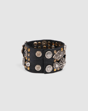 CAMPOMAGGI ROSETTE BRACELET BLACK LEATHER