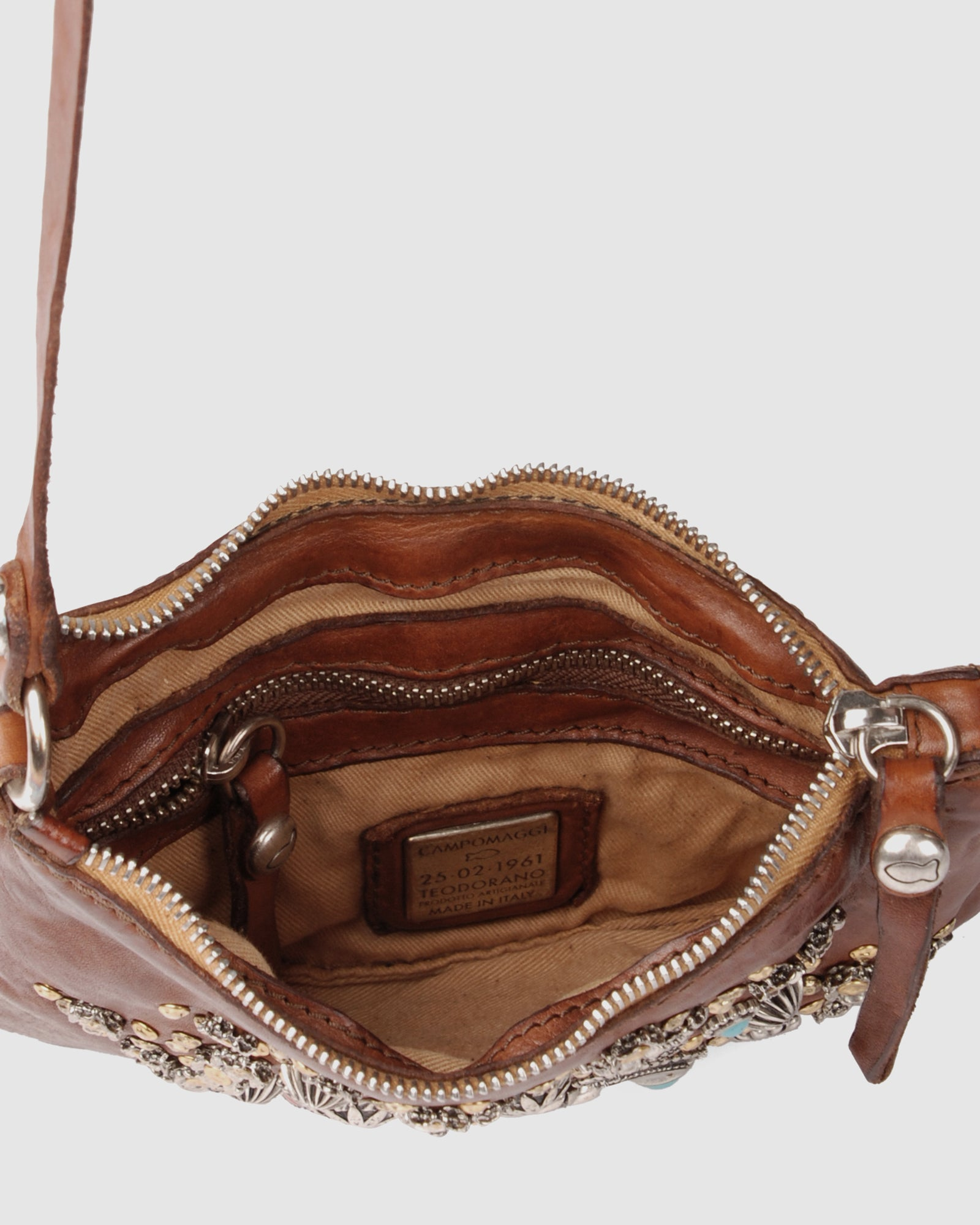 CAMPOMAGGI ROSETTE CROSS BODY BAG COGNAC LEATHER