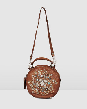 CAMPOMAGGI ROSETTE ROUND CROSS BODY BAG COGNAC LEATHER