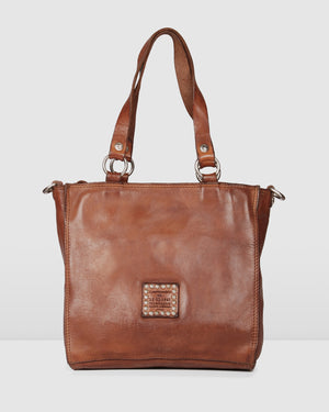 CAMPOMAGGI ROSETTE TOTE BAG COGNAC LEATHER