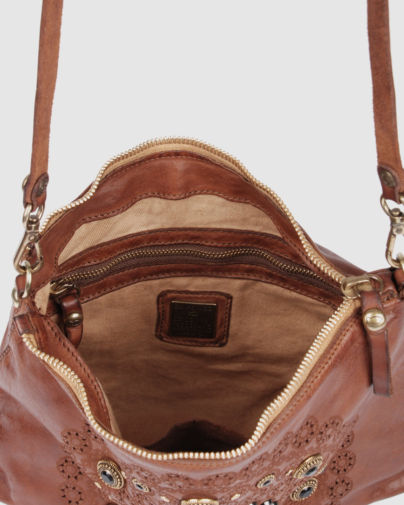 CAMPOMAGGI TANGIER CROSS BODY BAG COGNAC LEATHER