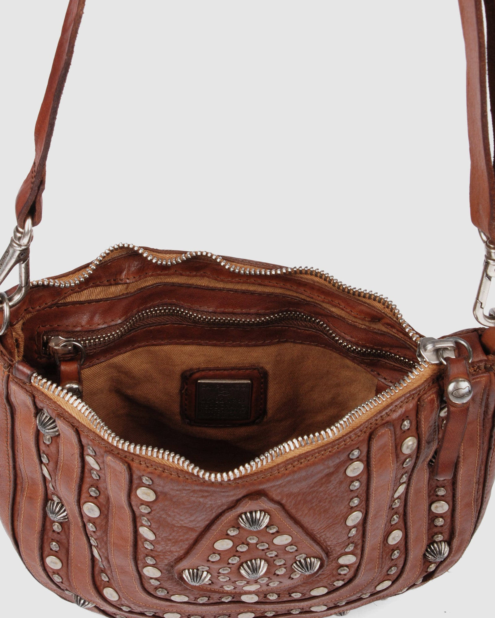 CAMPOMAGGI VERONA LARGE CROSS BODY BAG COGNAC LEATHER