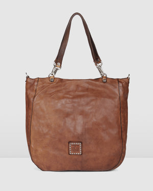 CAMPOMAGGI VERONA TOTE BAG COGNAC LEATHER