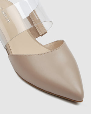 CANNES DRESS FLATS BEIGE LEATHER