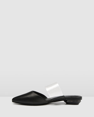 CANNES DRESS FLATS BLACK LEATHER