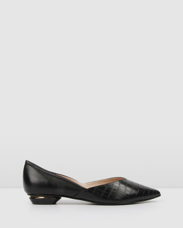 CARLISLE DRESS FLATS BLACK LEATHER
