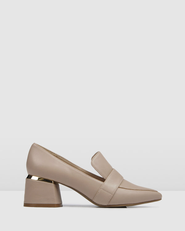 CELESTE LOW HEEL LOAFERS BEIGE LEATHER