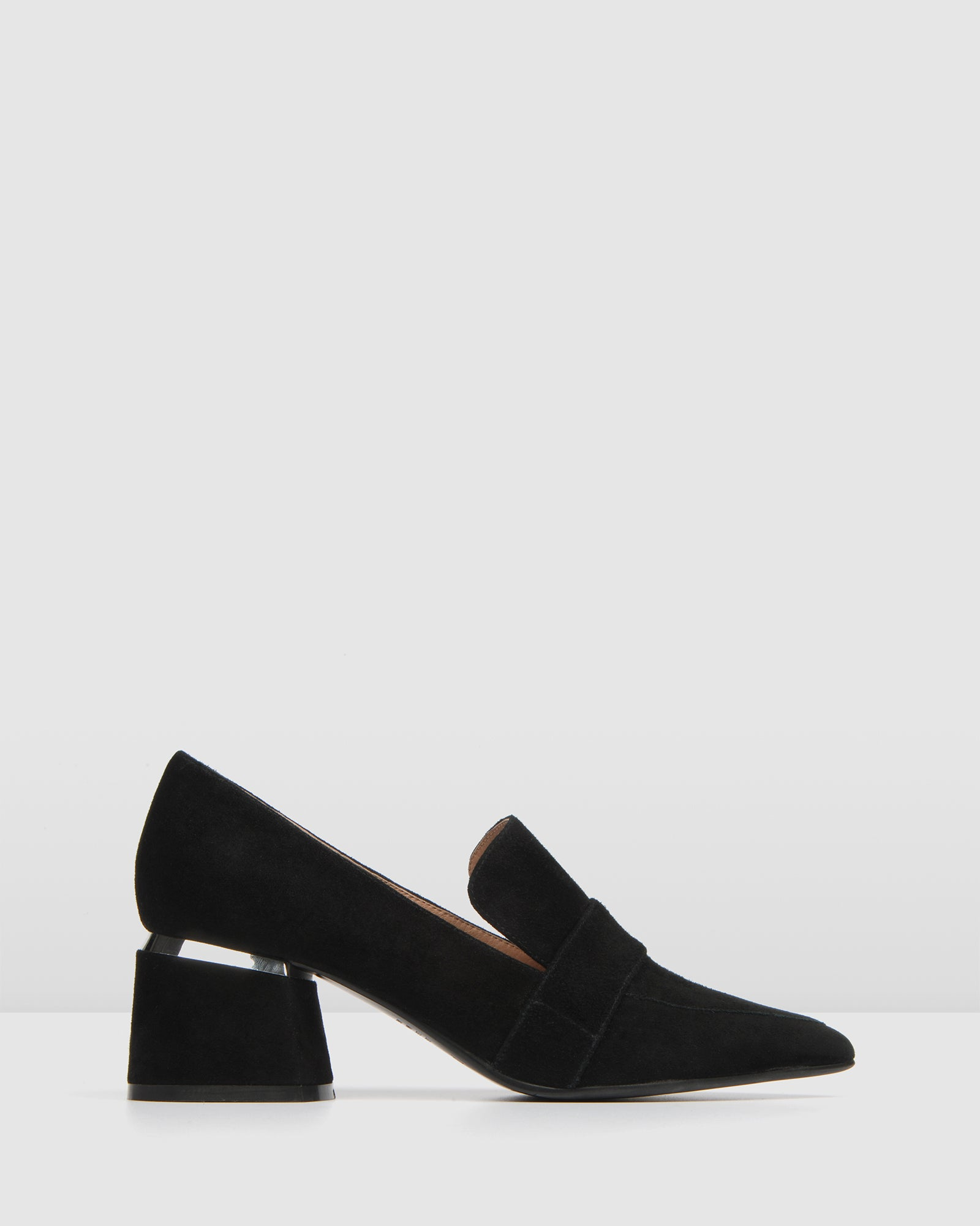 CELESTE LOW HEEL LOAFERS BLACK SUEDE