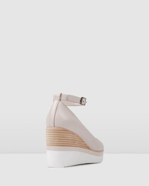 CHARLOTTE HIGH HEEL WEDGES BONE LEATHER
