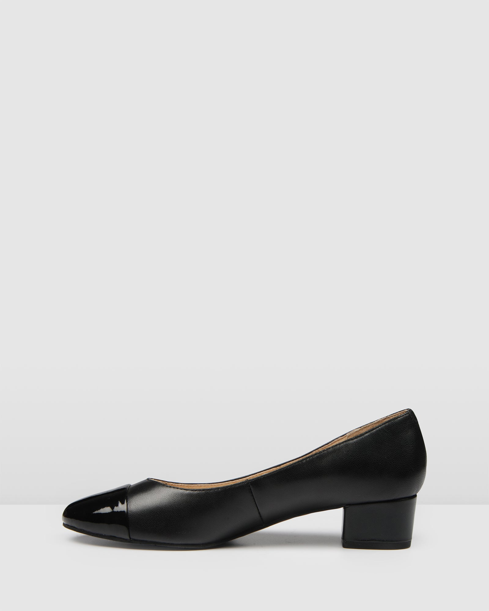 CHERRY LOW HEELS BLACK PATENT