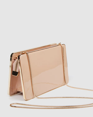 CLARA CLUTCH LIGHT BEIGE PATENT