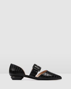 CLOVER DRESS FLATS BLACK CROC