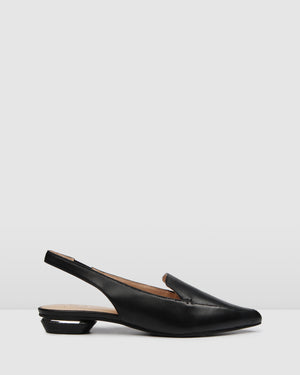 COMO DRESS FLATS BLACK LEATHER