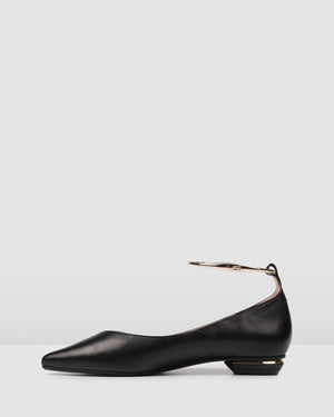 CUFF DRESS FLATS BLACK LEATHER