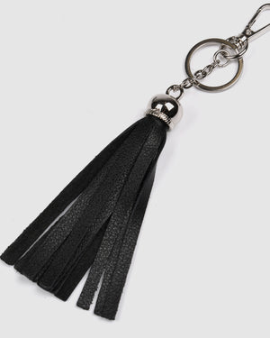 DAMARIS TASSLE KEYRING BLACK LEATHER