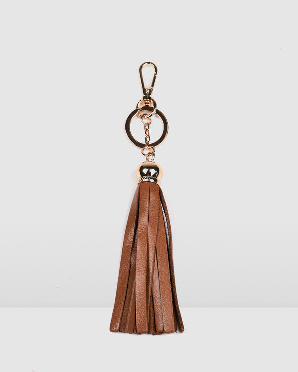 DAMARIS TASSLE KEYRING TAN LEATHER
