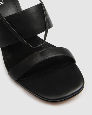 DEFENCE HIGH SANDAL BLACK LEATHER
