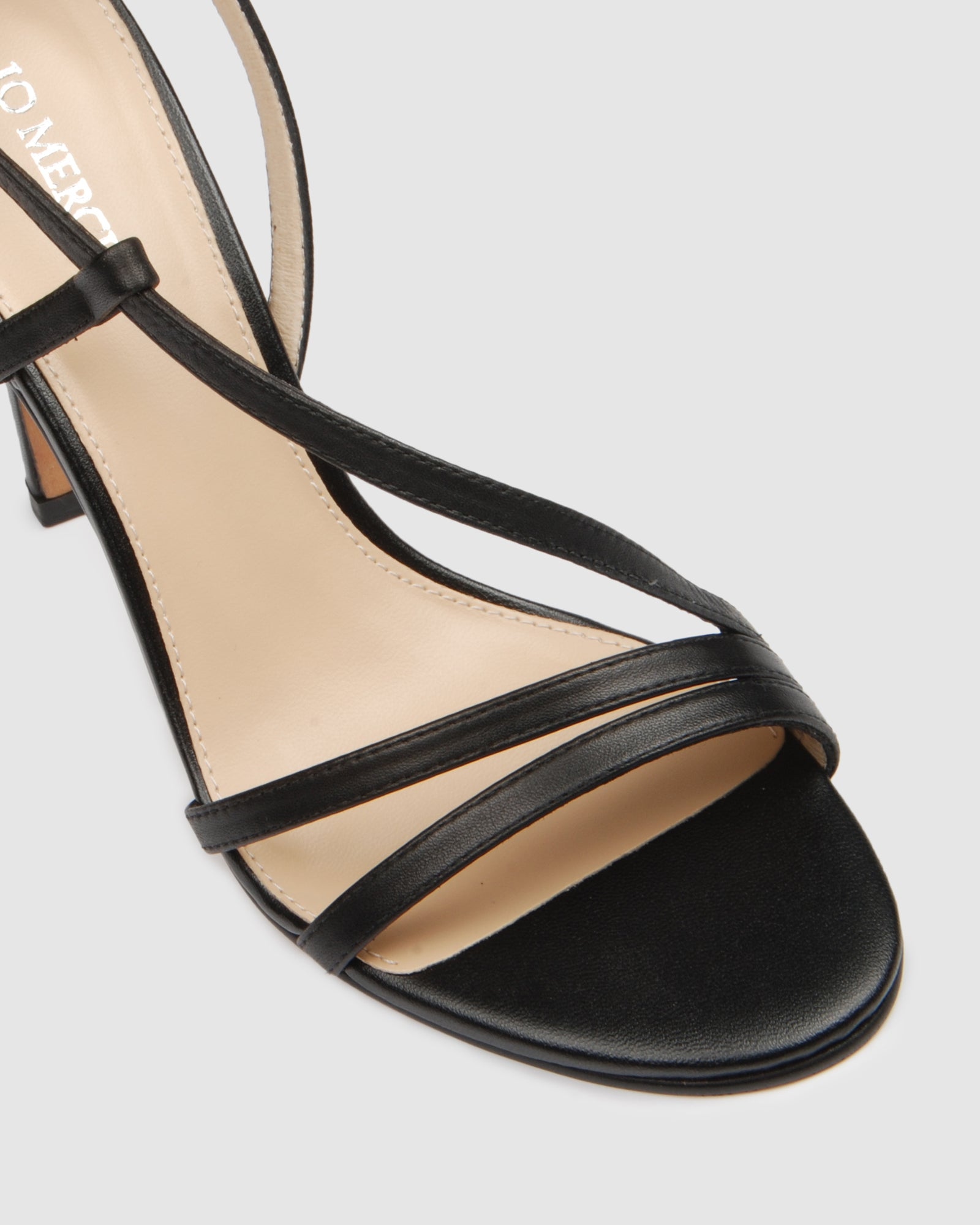 DONNA HIGH HEEL SANDALS BLACK LEATHER