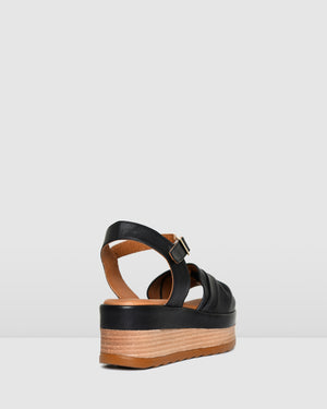 DORA MID HEEL SANDALS BLACK LEATHER