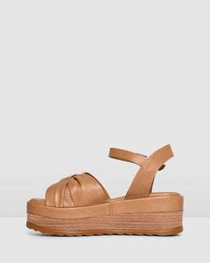 DORA MID HEEL SANDALS TAN LEATHER
