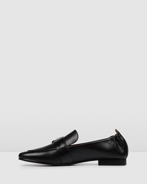 DORSET CASUAL FLATS BLACK LEATHER