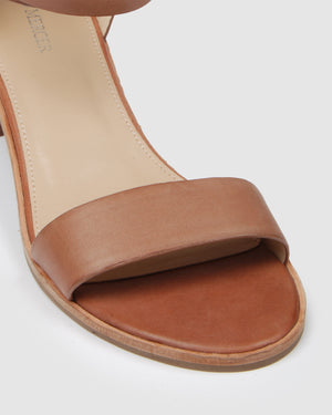 ELANE LOW HEEL SANDALS COGNAC LEATHER