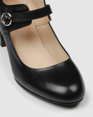 ELLA MID HEELS BLACK LEATHER