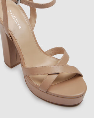 ELLI HIGH HEEL SANDALS BEIGE LEATHER