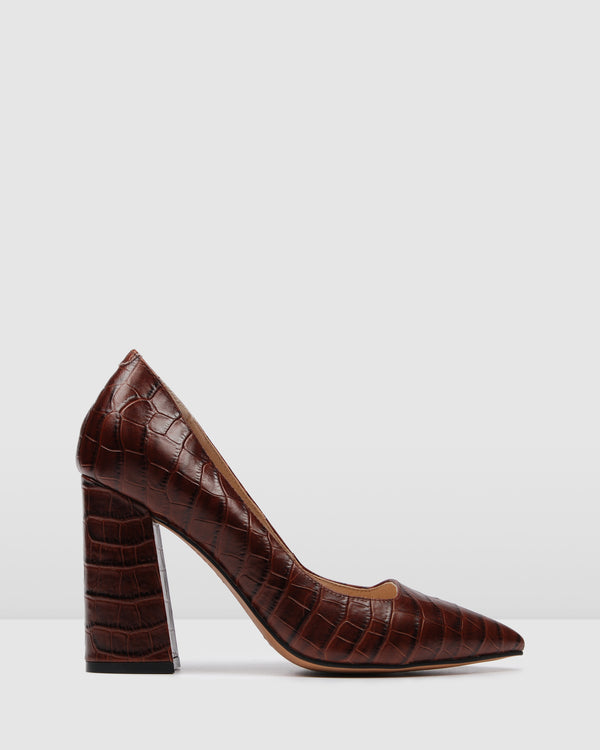 EVA HIGH HEELS BROWN CROC
