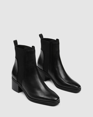 EVERLEIGH MID ANKLE BOOTS BLACK LEATHER