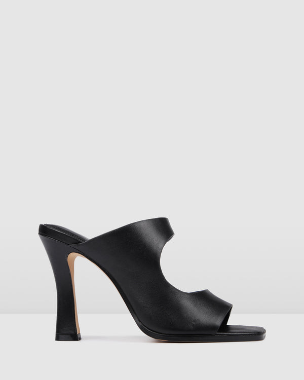 FADER HIGH HEEL SANDALS BLACK LEATHER