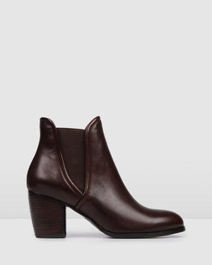 FIERCE MID ANKLE BOOTS DARK BROWN LEATHER