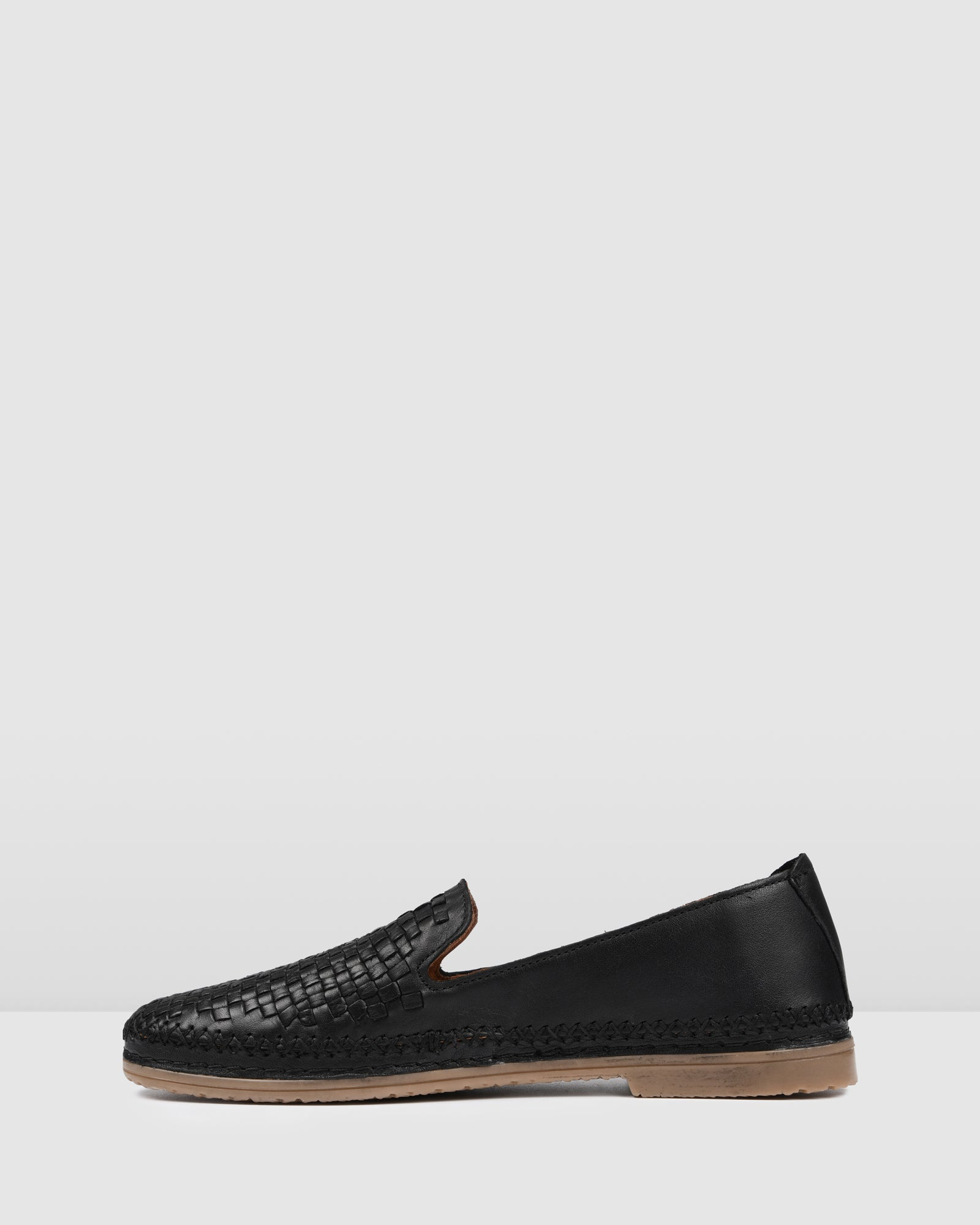 FLETCHER CASUAL FLATS BLACK LEATHER