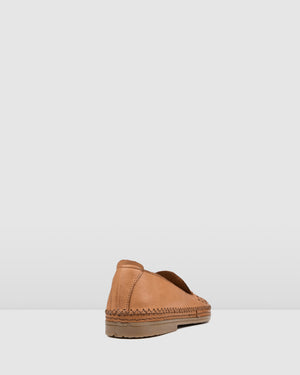 FLETCHER CASUAL FLATS TAN LEATHER