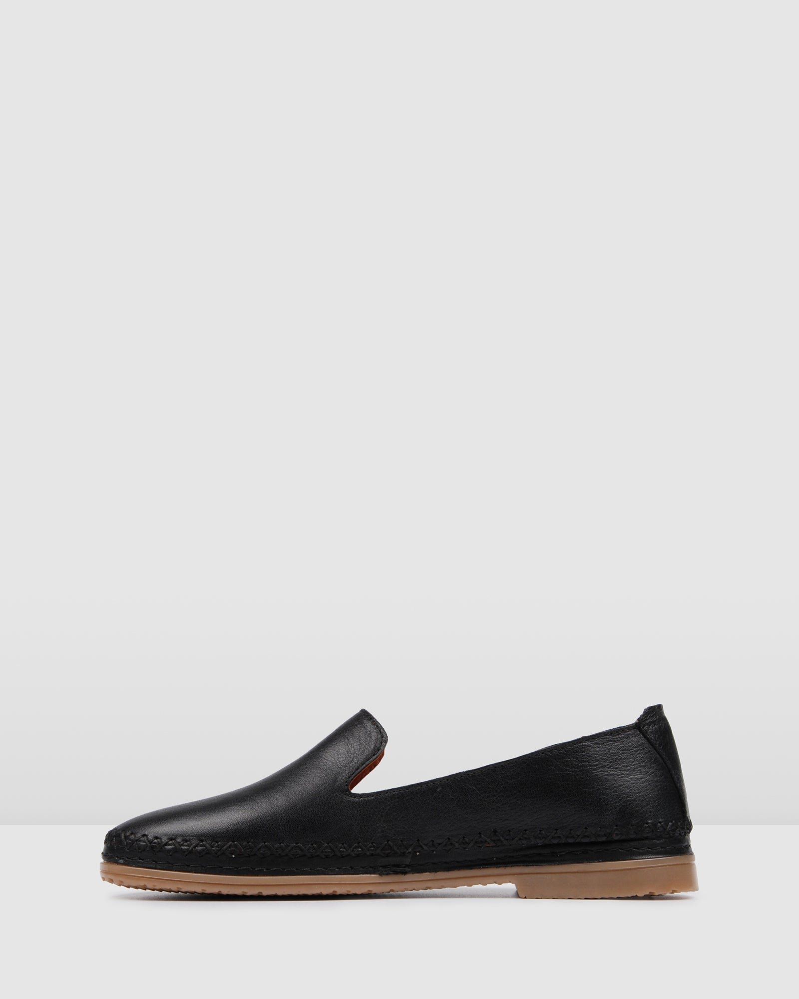 FLEUR CASUAL FLATS BLACK LEATHER