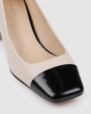 FLORA MID HEELS BONE LEATHER