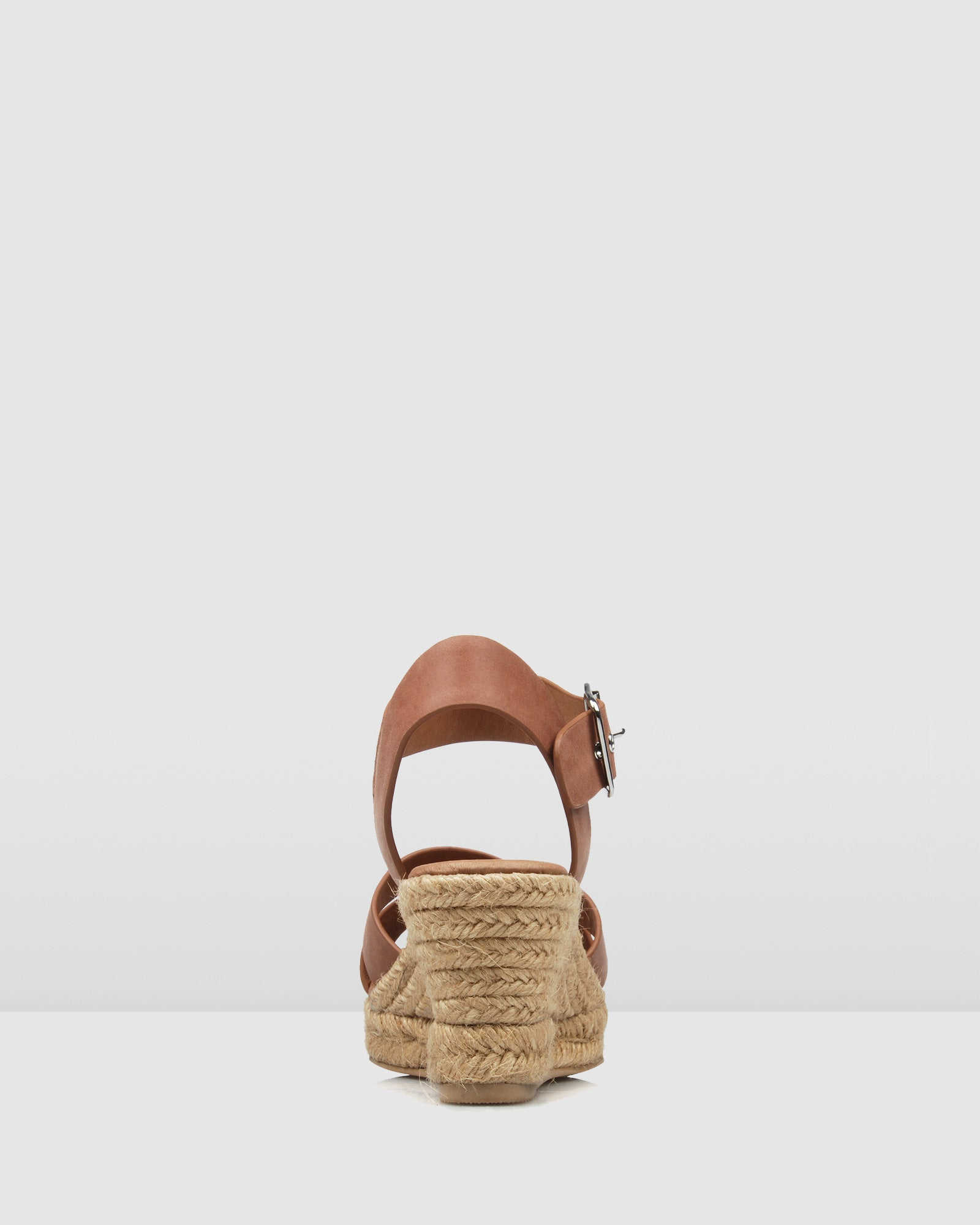 FLYNN MID HEEL WEDGE ESPADRILLES CHOCOLATE LEATHER