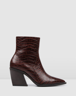 FONDA MID ANKLE BOOTS BROWN CROC
